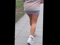 #8 Woman with hot legs in mini skirt and pantyhose