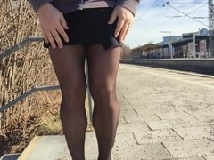 Cum on stockings on train station