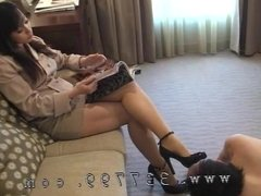 The Femdom makes slave to lick the shoe sole