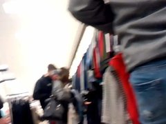SPYING ON Teen tight ass in jeans shopping