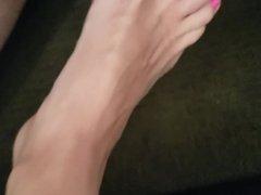 cumming on wifes feet!!!!