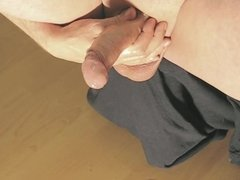 robin jerking his shaved oiled uncut monstercock 160
