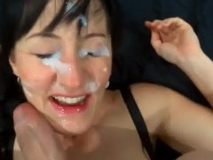 Gorgeous Brunette Happy to Have her Face Painted White