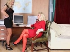 Hot busty blonde office sluts have lesbian pussy play on off