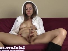 Sucking and fucking my dildo in just my furry hoodie and Ugg