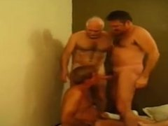 Gay Daddies Play In Group Sex Action