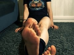 Your nerdy girl with sexy gaiters and cute feet.