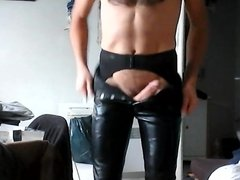 Leather pants, stockings and garter belt 1