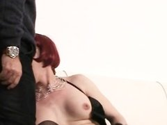 Redhead milking cock