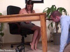 Goddess Heather Silk Dominating Foot Worship & Footjob