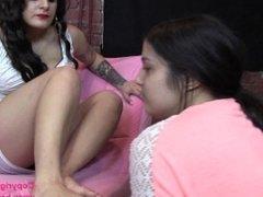 Brat Princess 2 - Mistress convinces shy girl to foot worship