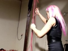 CBT Mistress Night Shadow Ties cock and balls to ceiling with weights