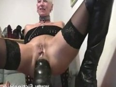 MILF takes HUGE black dildo up her ass, extreme hardcore anal fun!