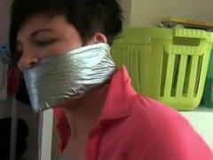 Girl taped and gagged by burglar girl