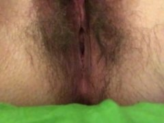 Rubbing and Fingering Wet Hairy Pussy POV