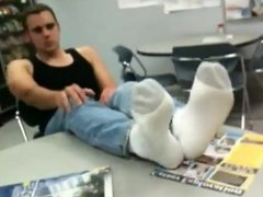 Justin shows US his feet at Work