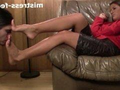 Foot licking slave