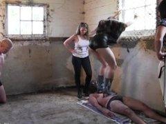 Stable boy massacre (3 girls trampling and ballbusting slaves)