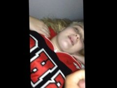 White college slut sucks bbc and takes facial in old cheerleading jacket
