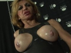 Big butt latina shemale teases her ass and masturbates