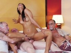 4 old men and old school tribbing Staycation with a Latin Hottie