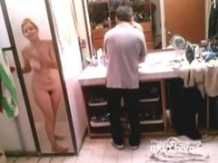 Blonde babe shower spy cam