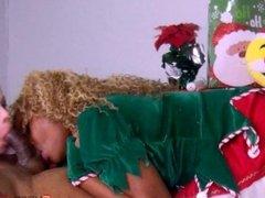 A Christmas double interracial blow job Nadia White and Nina Rivera