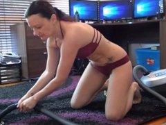 Vacuuming Fetish - Using Crevice Tool on Rug in Bikini