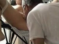Tied and blindfolded milf toyed to orgasm on a chair