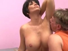 Mature milf makes guy lick her armpits and fuck her