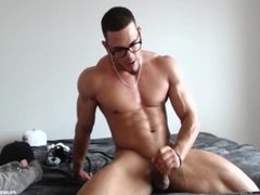 Sexy Redbone jacking his dick and busting a nut!