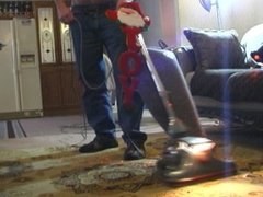 VACUUMING WITH A SEXY VINTAGE KIRBY. ( love that big puffed up bag)