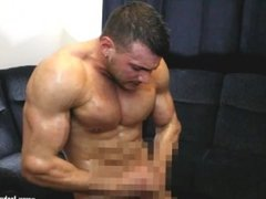 covered in oil muscle wank massive cumshot