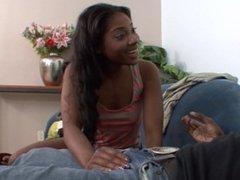 Helpful ebony teen Tiffan Monroe tries to relax her stepdad