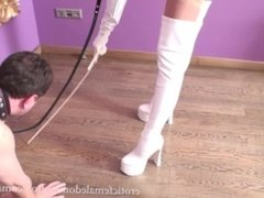 Foot Fetish Freak Sniffs His Mistress's High Heels