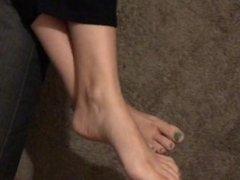 cuming on my wife's feet green pedicured feet
