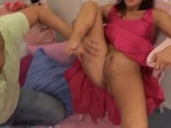 Teen babe brune and pale british teen Monica gets a big facial