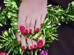 Merry Christmas Sexy footplay with red long toenail
