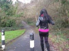 Spying on Hot Brunette Angie in a Miniskirt, Big Boob Flashing, Upskirt