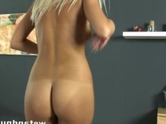 Platinum blonde wants one in the ass and one in her pussy