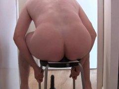 "Slut boy getting fucked by his new 20 cm (8"") sextoy ! Sissy Roxy Jéjé"