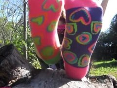 Teen Girl Feet on a Log