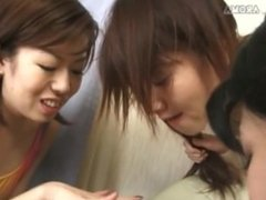 man get humilated with spit from 3 girls