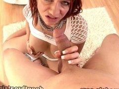 MILF Redhead Brittany Blaze Deepthroats Huge Cock and Swallows Cum Reward!