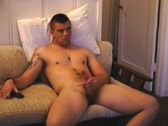hot military guy rubs one and shoots big
