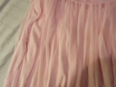 Cumming on my daughter's pink party dress