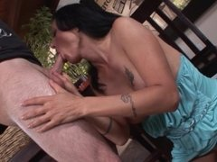 Horny MILF Zoey Holloway gives her daughters boyfriend a blowjob