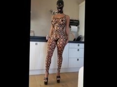 Latex bdsm catsuit with a big breasted Dutch amateur girl