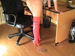 underfeet.net pink thigh high boots crush crickets in bag