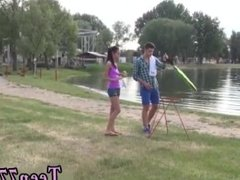 Teen japan students Eveline getting screwed on camping site